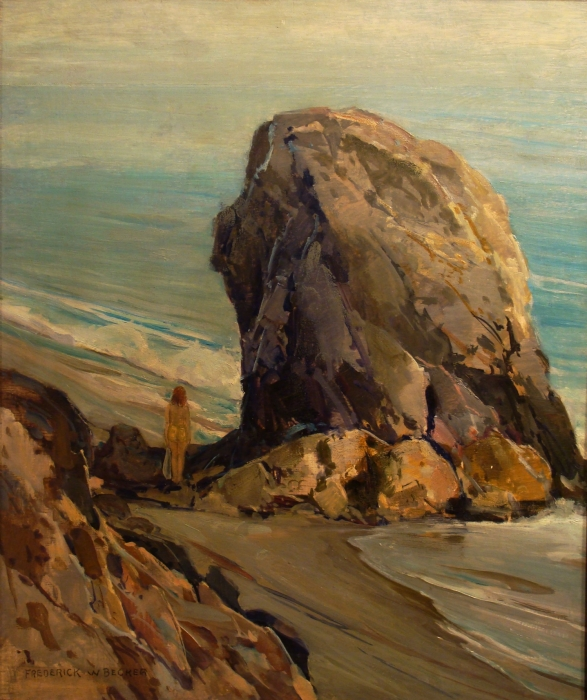 Frederick W Becker Rock at China Beach 24x20 Oil on Board