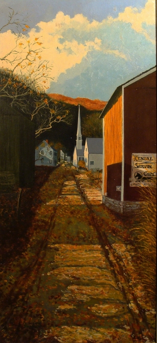 Frederick Zimmerman Pathway Through the Barns Oil 28x12