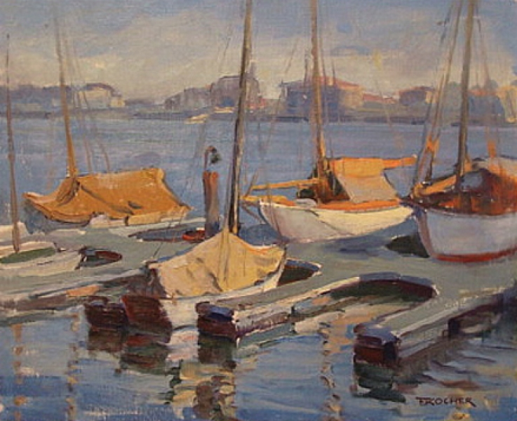 San Pedro Harbor Boats at Dock by Fritz Kocher 18x22 Oil Painting