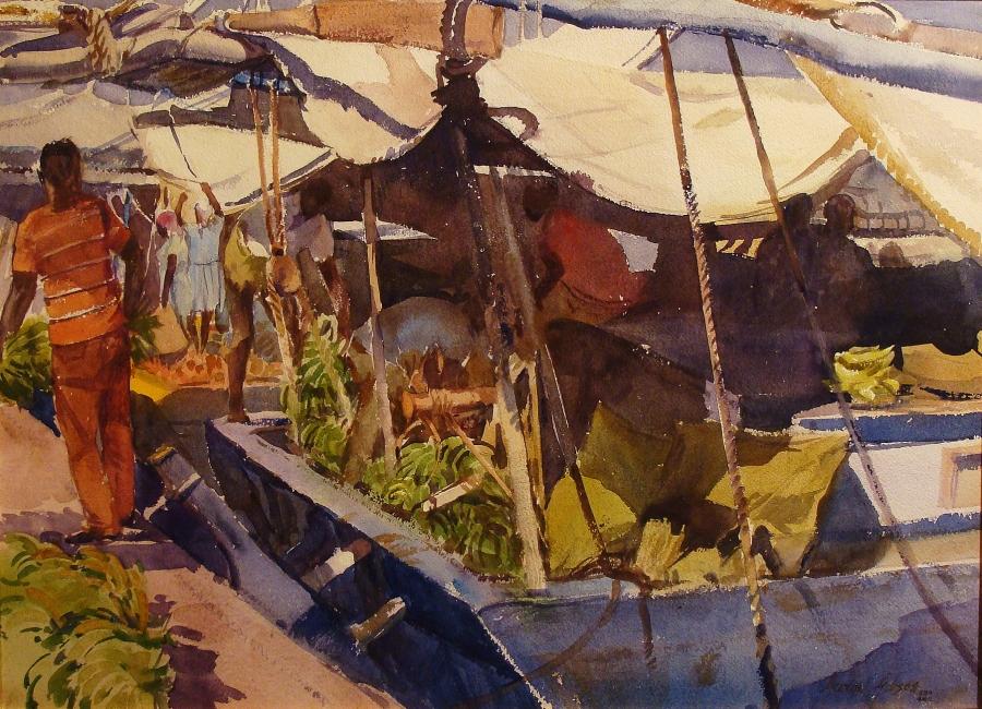 George Gibson Banana Boat 22x30 Watercolor