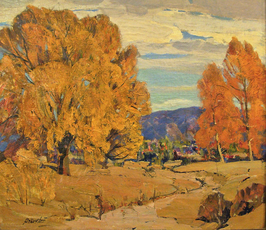 George S Bickerstaff Autumn near Big Bear 28x32 Oil on Canvas