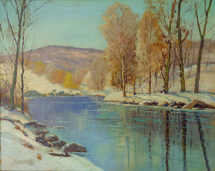 George S Bickerstaff Winter Reflection 24x30 Oil on Canvas