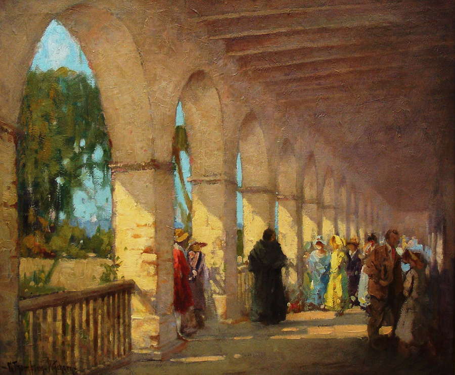 George Thompson Pritchard Gathering at the Mission San Juan Capistrano 25x30 Oil on Canvas