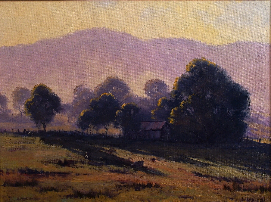 Graham Gercken California Valley Farm 16x20 Oil on Board