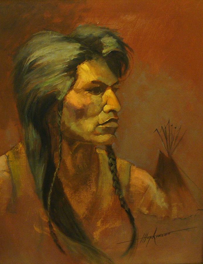 Harold Hopkinson Shoshone Warrior 20x16 Oil on Canvas