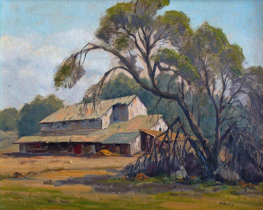Harold R Loy San Pasqual Barn 16x20 Oil on Canvas Board