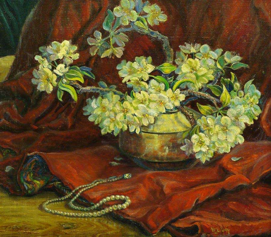Hella Broeske Shattuck Pearls and Velvet 17x18 Oil on Canvas