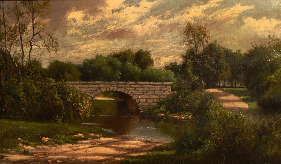 Henry Hulsmann Bridge in a Landscape 12x20 Oil on Canvas