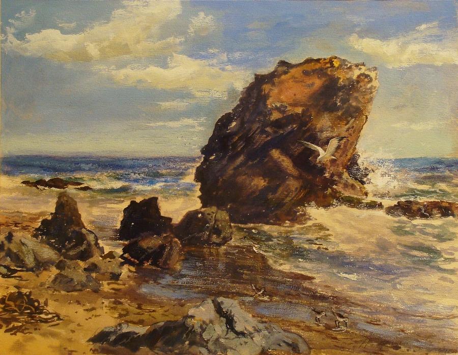 Herman Bruehler Rocky California Coast 18x24 Watercolor