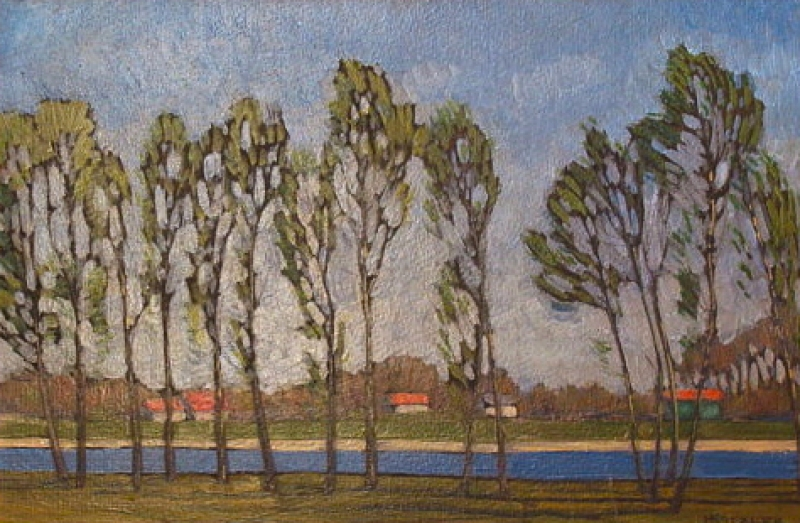 Herman Katzler Trees along a River 9x14 Oil