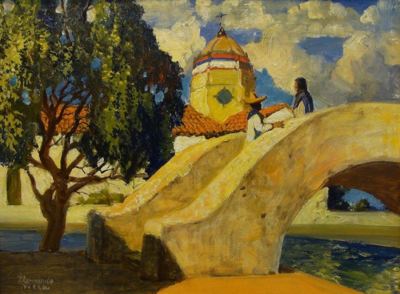 Hernando Villa Meeting on the Bridge 12x16 Oil