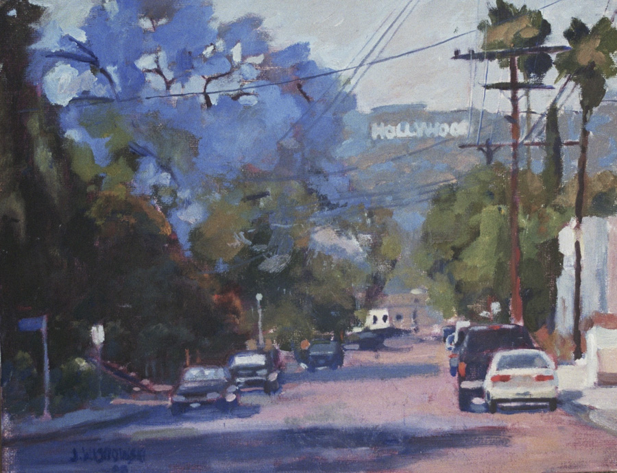 James Wisnowski Hollywood Sign with Jacaranda Oil Painting