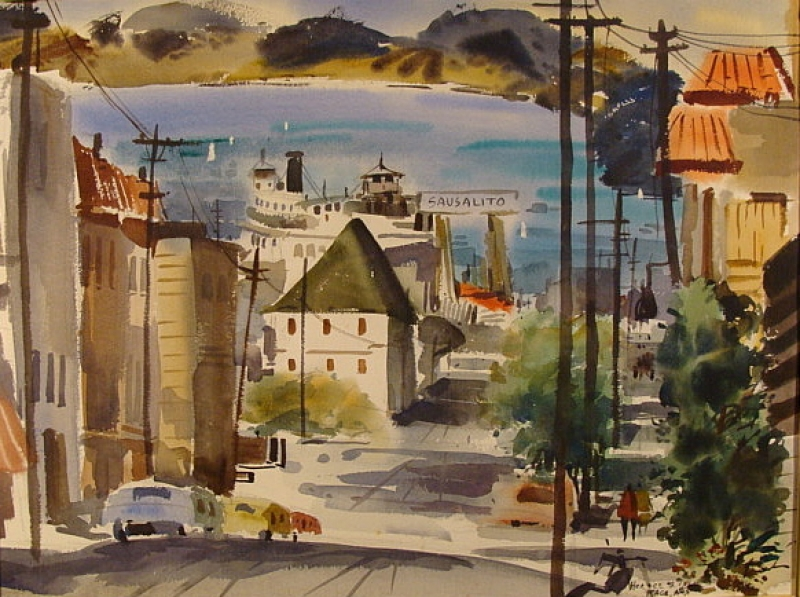Sausalito by Horace Page 22x29 Watercolor