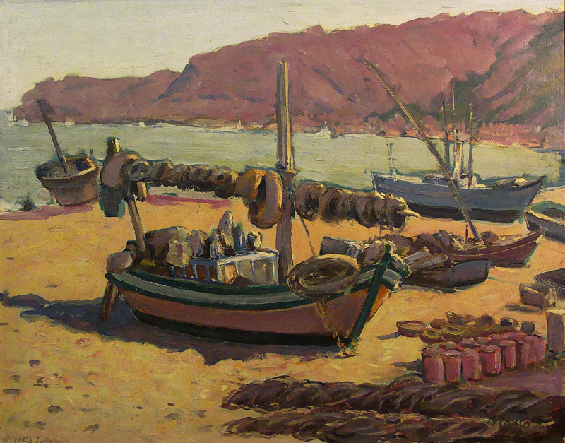 Irving Manior Fishing Boats at Nazare 18x24 Oil on Board