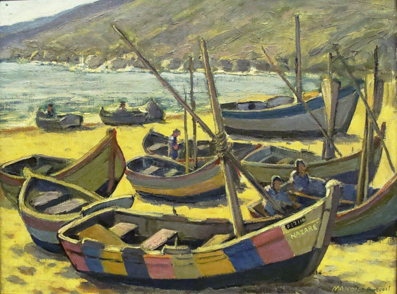 Irving Manoir Fishing Boats at Nazare Portugal 20x24 Oil
