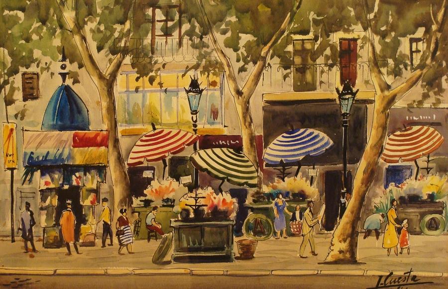 Ismael Cuesta City Street Scene 14x20 Watercolor