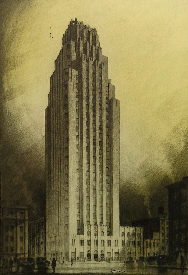 J Mason Reeves Art Deco Skyscraper 1920's 21x16 Pencil and Charcoal on Artist Board