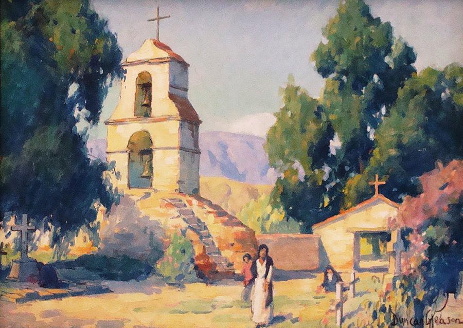 J Duncan Gleason Mission Graveyard Gouache