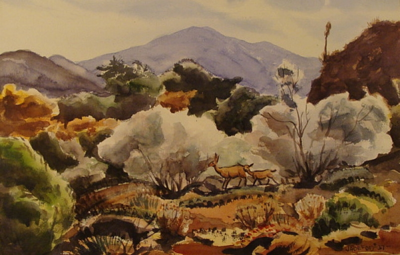 Deer in Autumn Foothills by Jade Fon 14x21 Watercolor