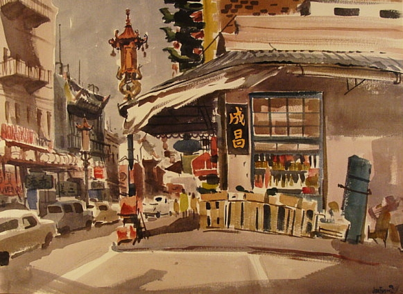 Grant Street, San Francisco by Jade Fon 22x30 Watercolor