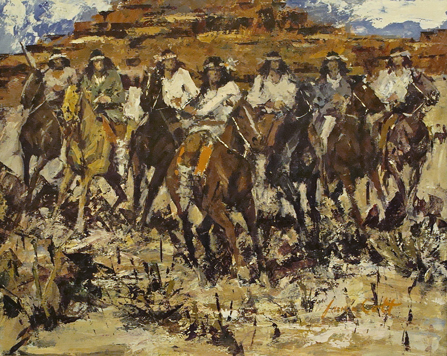 James Colt Group of Seven Apaches 20x24 Oil on Board