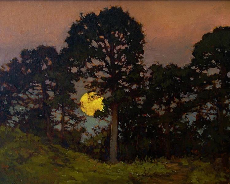 Jan Schmuckal Moonrise Through the Trees 16x20 Oil on Canvas
