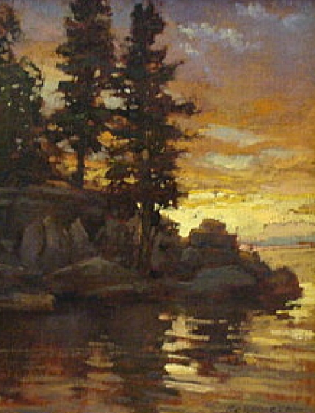 Shoreline Pines by Jan Schumuckal - Oil Painting 11x14