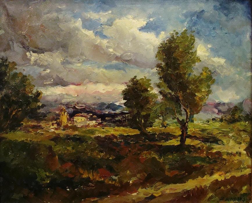 Jan W Zadwadski Dramatic Skies 18x22 Oil on Canvas