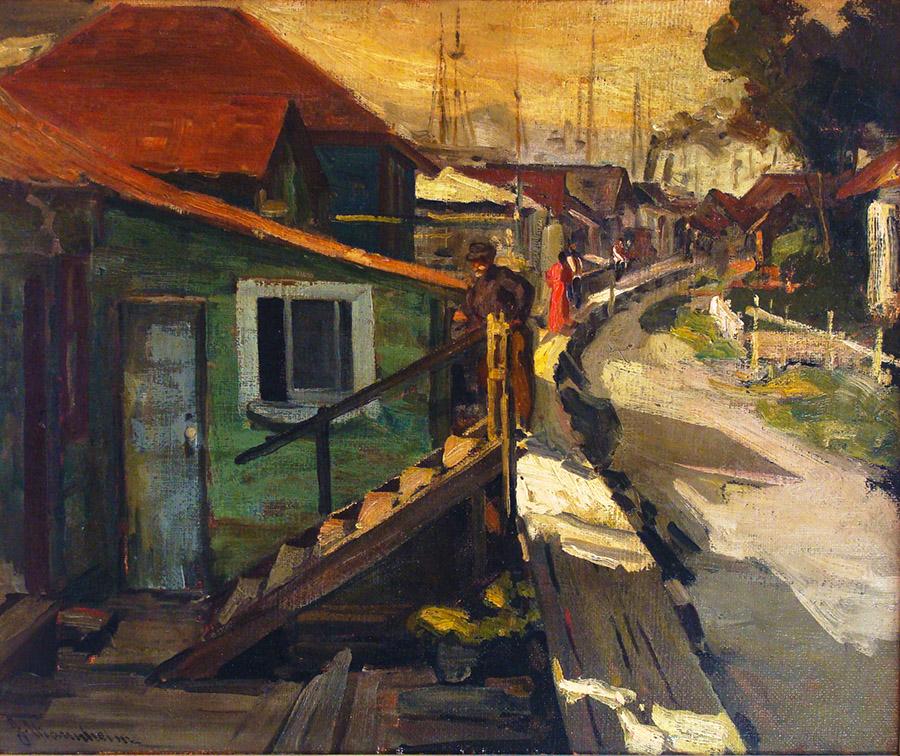 Jean Mannheim Monterey Fishing Village 20x24 Oil on Canvas