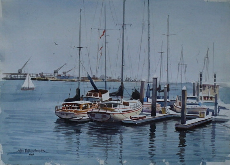San Pedro Harbor by John Bohnenberger 22x30 Watercolor