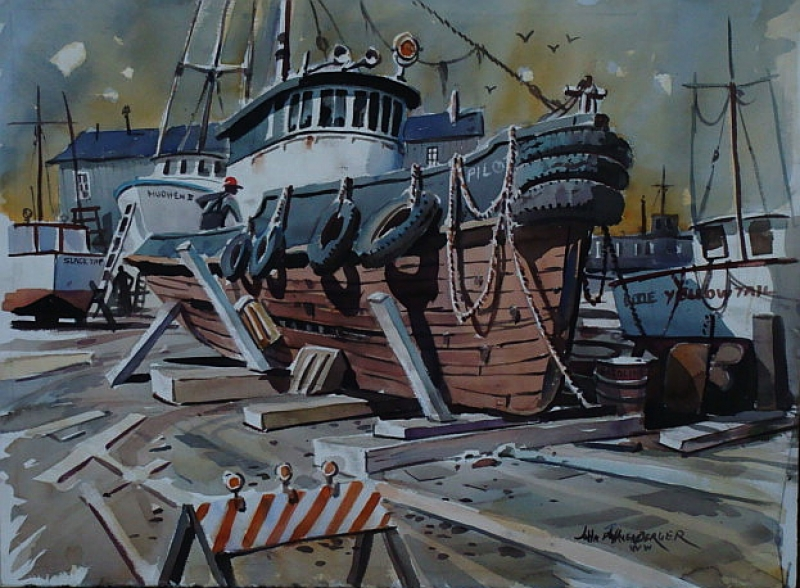 Up for Repairs by John Bohnenberger 22x30 Watercolor