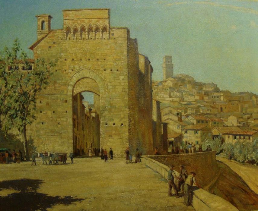 John Charles Moodly Gates of Toledo, Spain 28x34 Oil