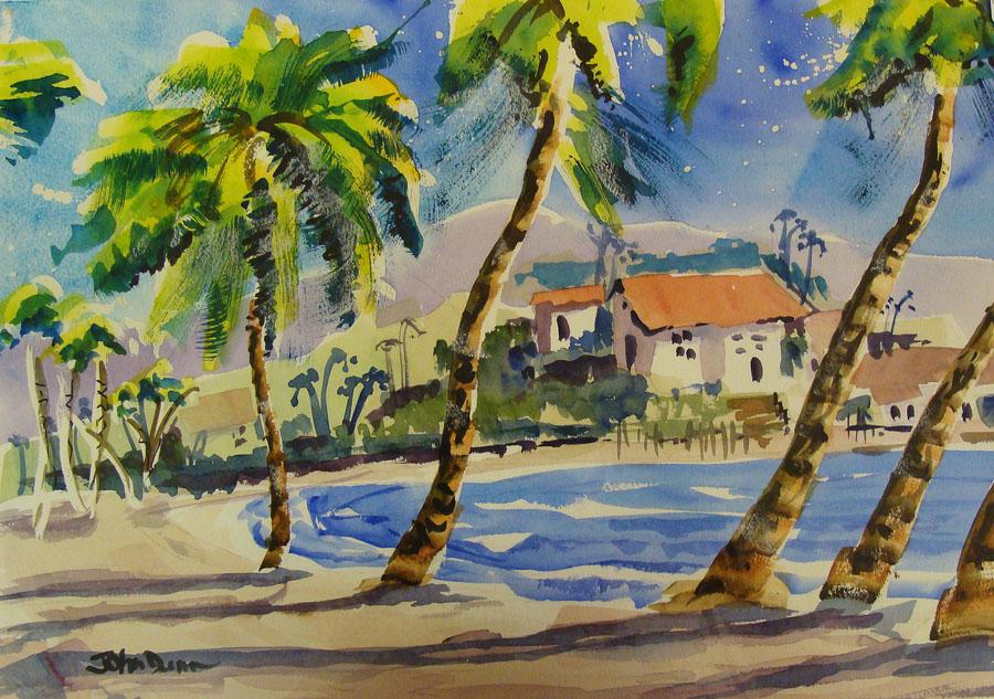 John Dunn Palms Along the Beach 14x21 Watercolor