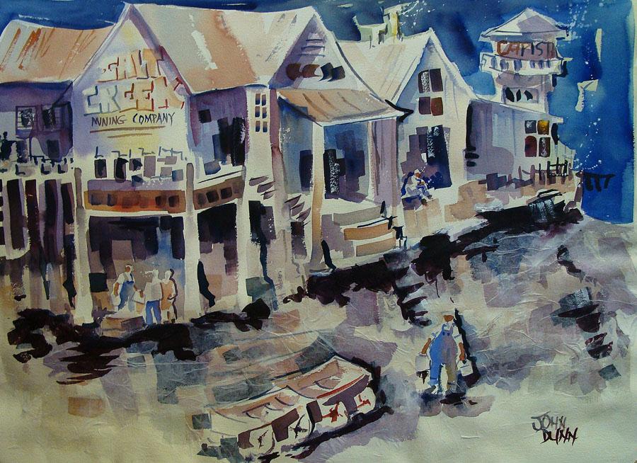 John Dunn Salt Creek Mining Company 21x29 Watercolor