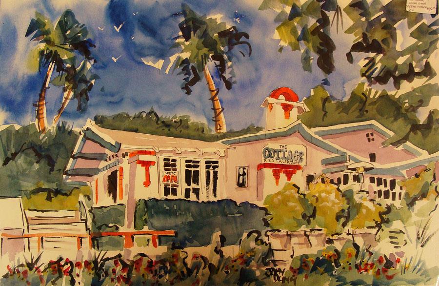 John Dunn The Cottage Laguna Beach 13x21 Watercolor