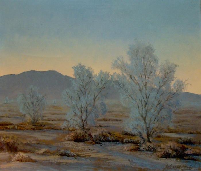 John W Hilton Smoke Trees at Twilight 24x28 Oil