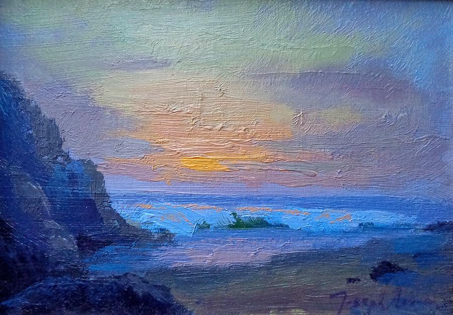 Joesph Aaron California Coastal Sunset 5x7 Oil on Board