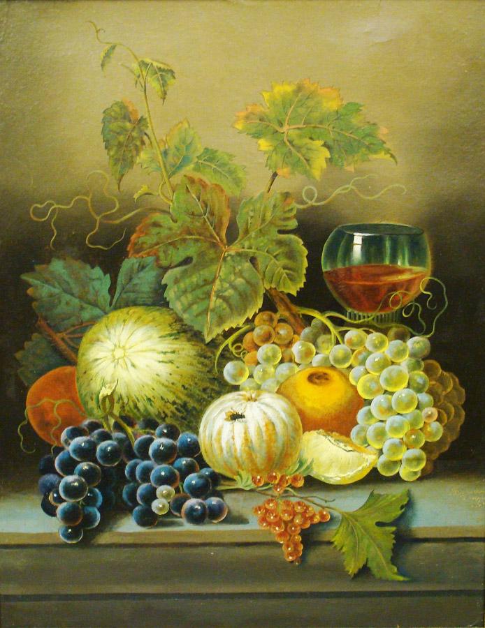 Joseph Correggio Still Life of Fruit and Wine 20x16 Oil on Board