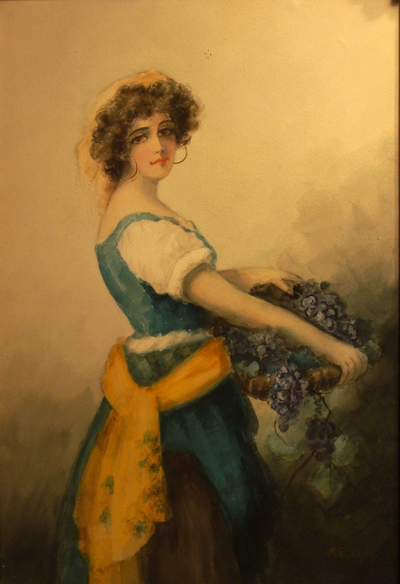 Mabel E Leavitt Girl with Grapes 30x20 Watercolor