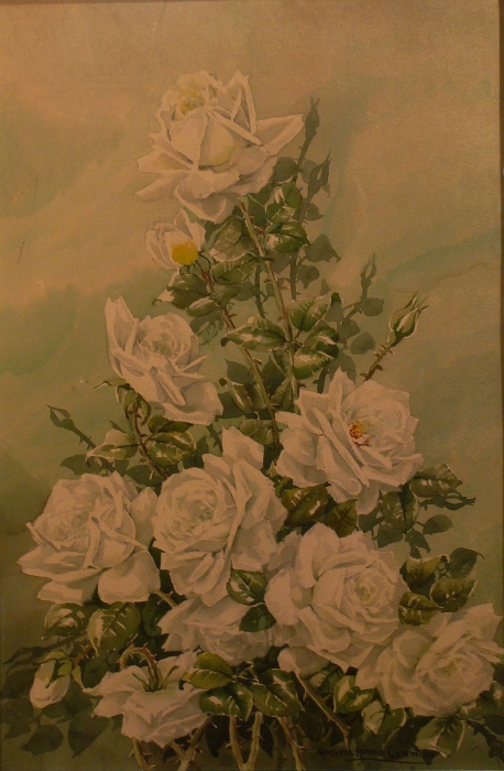 Marjorie Ransom Cummins White Roses 24x16 Watercolor