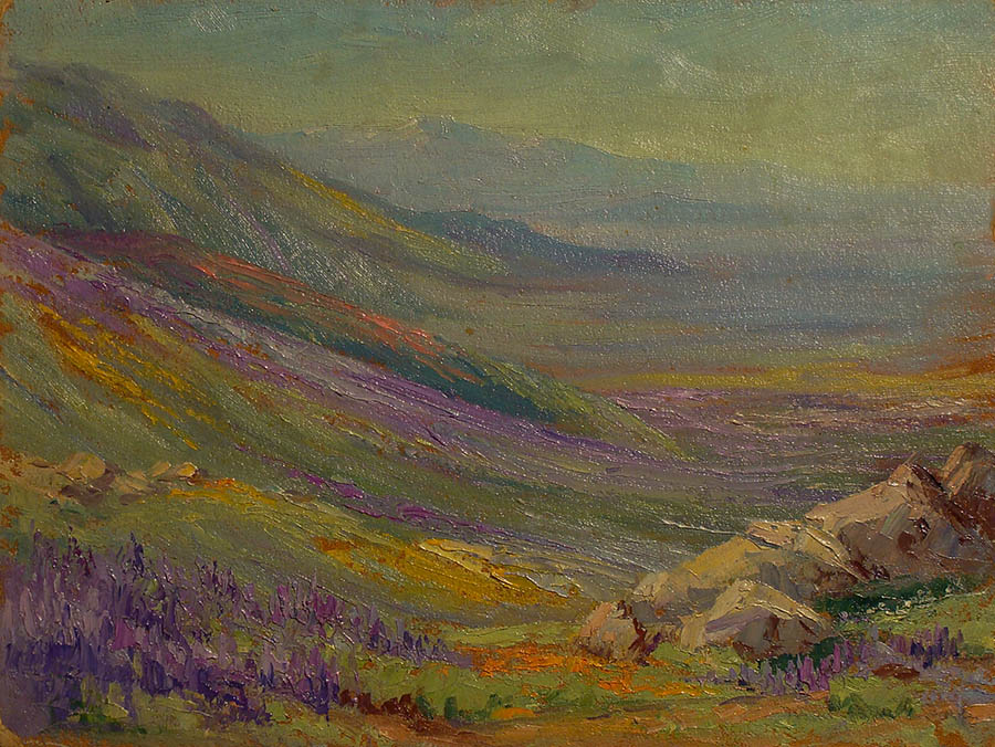 California landscape of mountains, valley and wildflowers by Martella Cone Lane