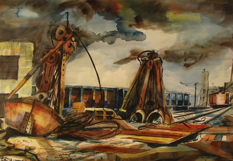 Industrial Train Yard by Milford Zornes 15x22 Watercolor