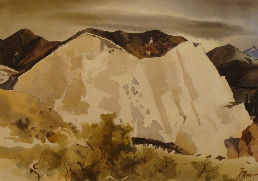 Milford Zornes The Badlands–1970 20x24 Watercolor