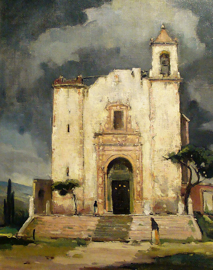 Orrin White Church in Mexico 20x16 Oil on Canvas