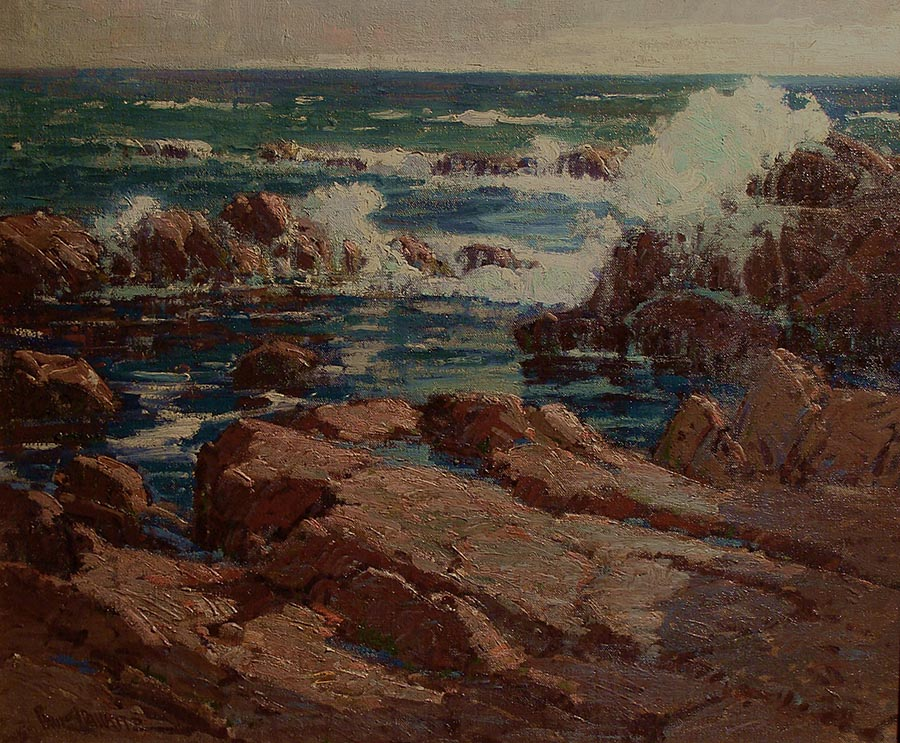 Deep blue-green seawater, Ocean spray and rocks by Paul Lauritz oil painting