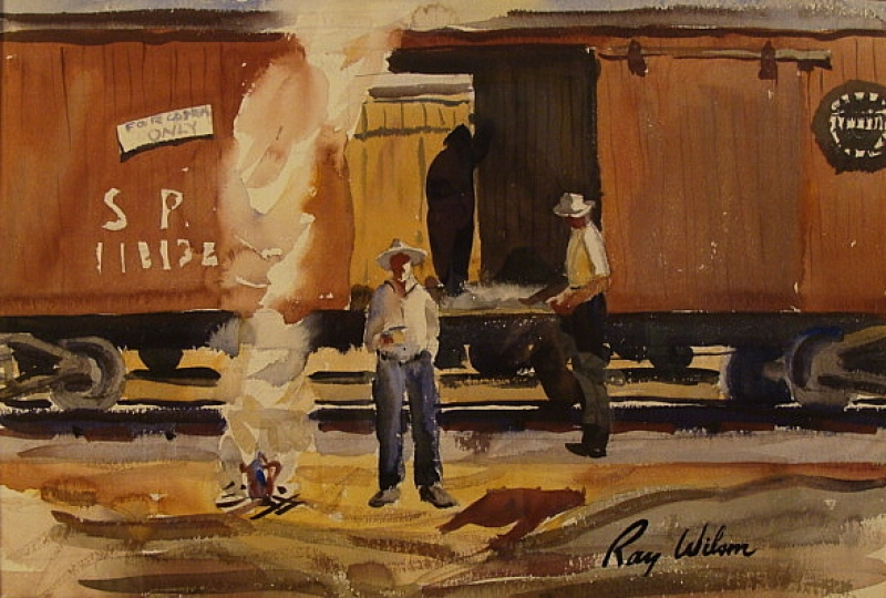 Hobos and Boxcars by Ray Wilson 14x21 Watercolor