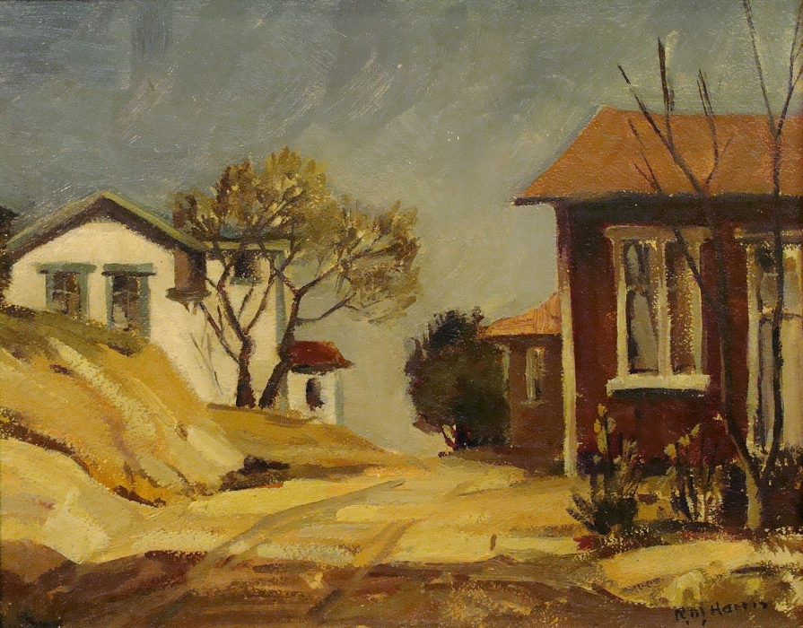 Robert M Harris Chavez Ravine Houses 11x14 Oil on Board