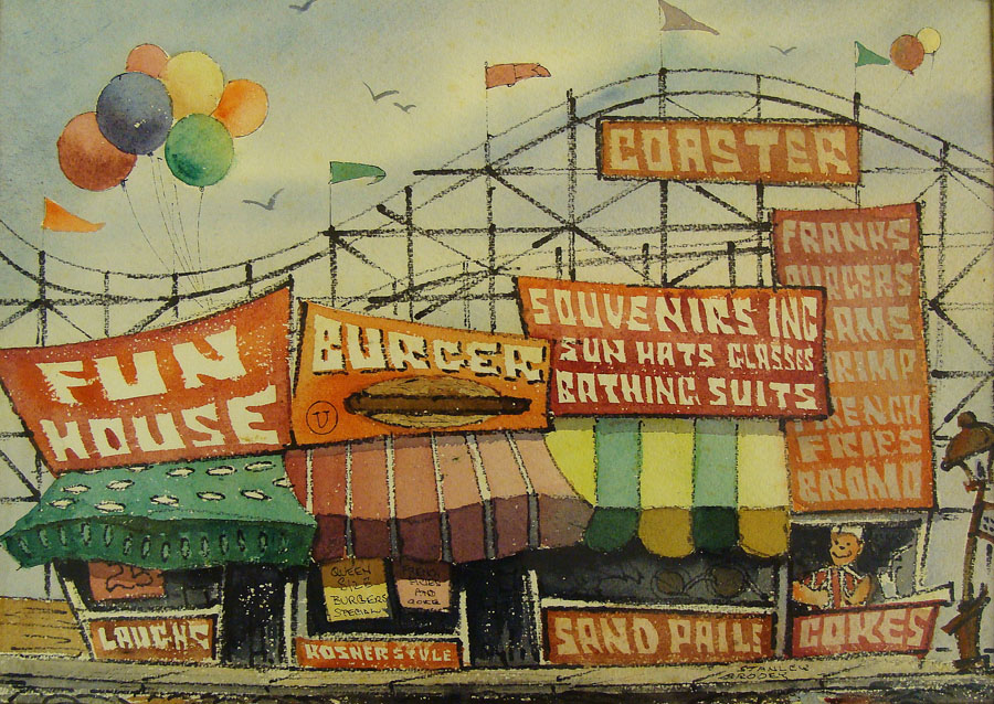 Stanley Brody Fun House 10x14 Watercolor