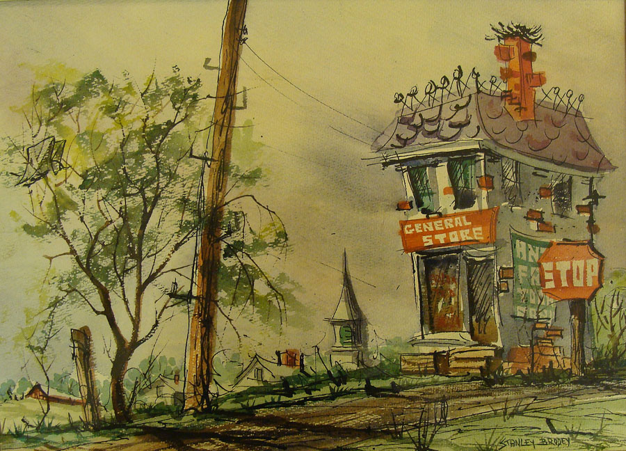 Stanley Brody General Store 10x14 Watercolor