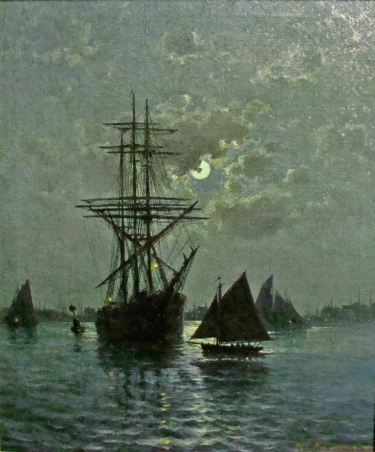 Theodore Valenkamph Sailing Ship at Sea Oil Painting